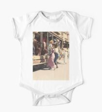Mother helps her child off trolley in NYC — Colorized Short Sleeve Baby One-Piece