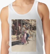 Mother helps her child off trolley in NYC — Colorized Men's Tank Top