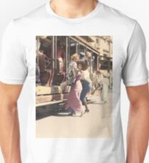 Mother helps her child off trolley in NYC — Colorized Slim Fit T-Shirt