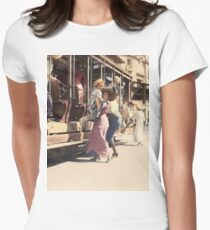 Mother helps her child off trolley in NYC — Colorized Women's Fitted T-Shirt