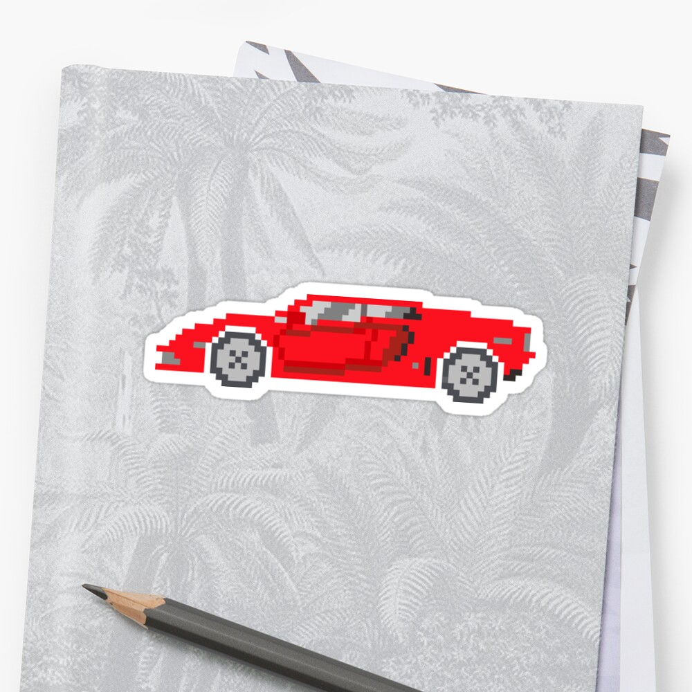 sports car the kids 39 picture show sports car pixel art stickers by kidspictureshow redbubble. Black Bedroom Furniture Sets. Home Design Ideas