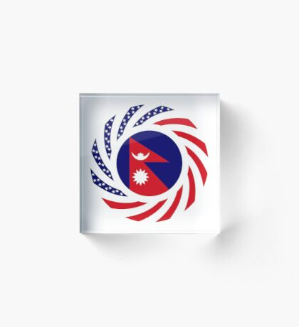 Nepalese American Multinational Patriot Flag Series Acrylic Block