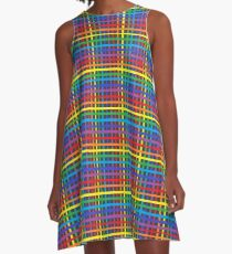 Pinstripe Rainbow Weave  A-Line Dress