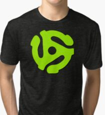 45 rpm record adaptor, neon green, purple Tri-blend T-Shirt
