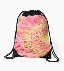 Pink Macro Flower Drawstring Bag