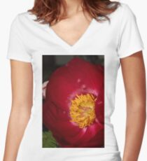Flower Macro Women's Fitted V-Neck T-Shirt