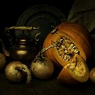 Still life with pumpkin and onions by JBlaminsky