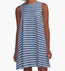 Serenity and Black Stripes A-Line Dress