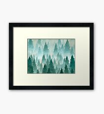 Hand Drawn Watercolor Painting of Winter Forest Landscape Framed Print