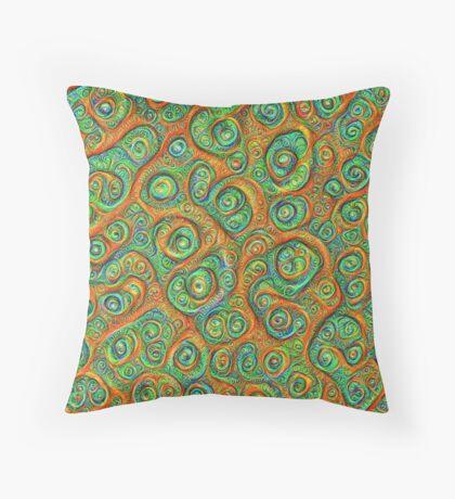 Green Red #DeepDream Throw Pillow