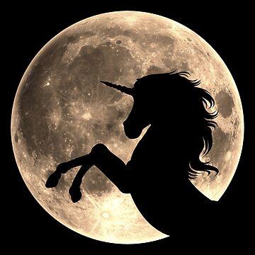 Unicornio, luna, luna llena, fantasía, magia, caballo, fantástico, bestia de boom-art