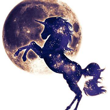 Espacio unicornio, luna, luna llena, fantasía, magia, caballo, fantástico, bestia de boom-art