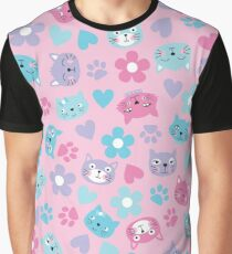Kitty Cat Pattern by Everett Co Graphic T-Shirt