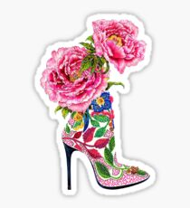Pink flowery boots Shoes | Fashion Sticker