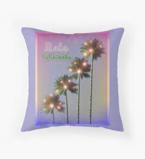 Palm Trees With Lights Mele Kalikimaka Throw Pillow