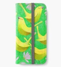Gold birdies on lime iPhone Wallet/Case/Skin