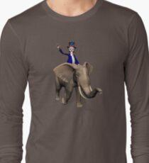 Uncle Sam Riding On Elephant Long Sleeve T-Shirt