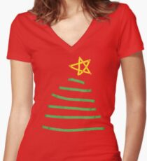 Simple Christmas tree Women's Fitted V-Neck T-Shirt