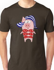Pig in swimsuit and hat Unisex T-Shirt