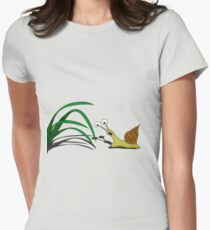 Snail on the grass Womens Fitted T-Shirt