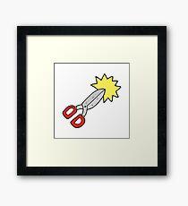 cartoon scissors Framed Print