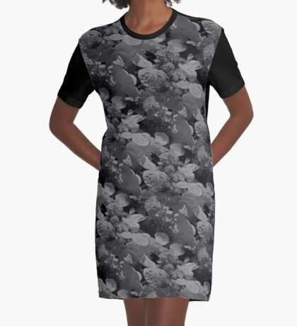 Hydrangea Flowers In Black And White Graphic T-Shirt Dress
