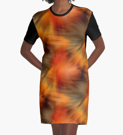 Abstract Orange Brown Yellow Colors Graphic T-Shirt Dress
