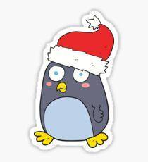 Pegatina cartoon penguin in christmas hat