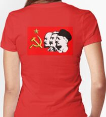 CORBYN, ELECTION, POLITICS, Red Flag, Comrade Corbyn, Leader, Labour Party, Black on White Women's Fitted V-Neck T-Shirt