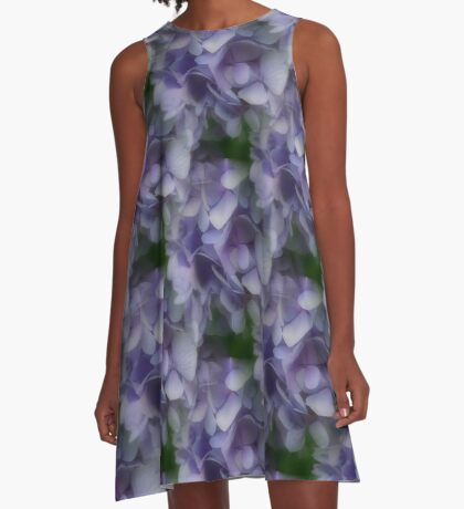 Lavender Blue Hydrangea Flower Petals A-Line Dress