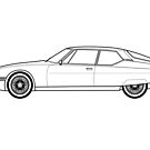 Citroen SM Line drawing artwork by RJWautographics