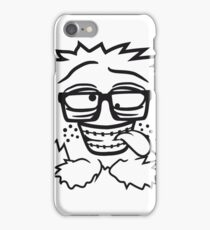 nerd geek schlau hornbrille zahnspange freak pickel haarig monster wuschelig verrückt lustig comic cartoon zottelig crazy cool gesicht  iPhone Case/Skin