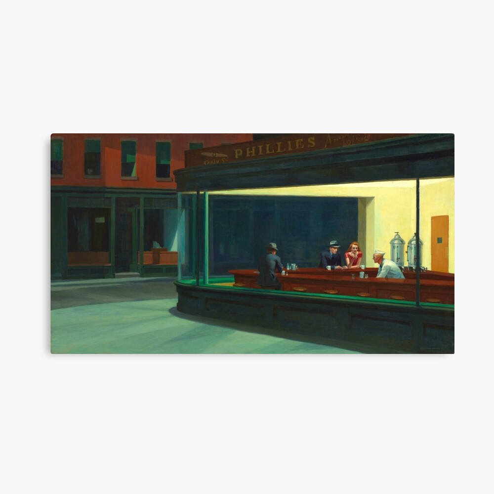 Vintage Edward Hopper Nighthawks Diner Canvas Print