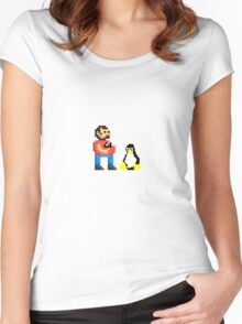 Tux and some linux guy Women's Fitted Scoop T-Shirt