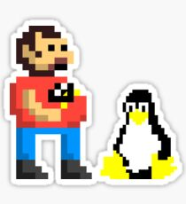 Tux and some linux guy Sticker