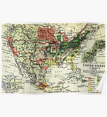 Old map America and Mexico 1865 - 1907 Poster