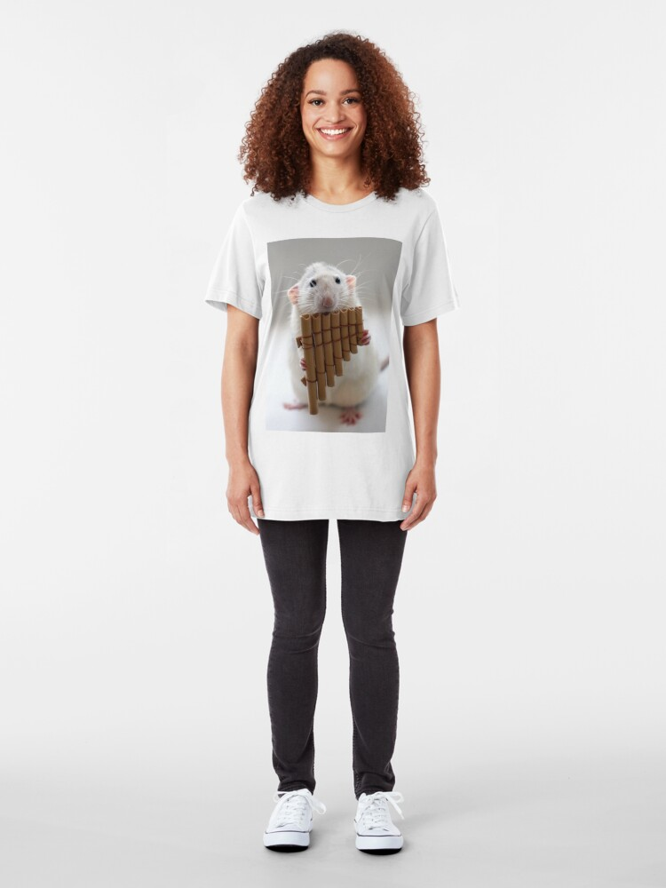 Alternate view of Playing the panflute. Slim Fit T-Shirt
