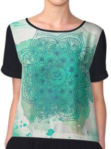 Green Mandala watercolor  Women's Chiffon Top