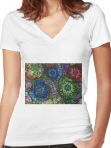 Flowerscape Collage Women's Fitted V-Neck T-Shirt