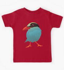 Blue Cartoon Bird in Black Background Kids Tee