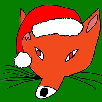 Christmas Fox in a Santa Hat by TheCartoonHouse