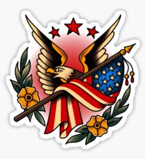 American Traditional Eagle and Flag Sticker