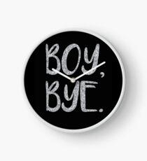 Boy bye faux silver glitter Clock