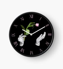 Pink single tulip in magic hands Clock