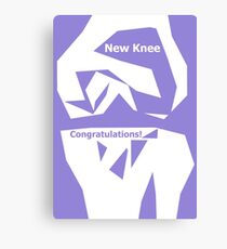 Knee Replacement Operation Congratulations Card Purple by Jenny Meehan Canvas Print