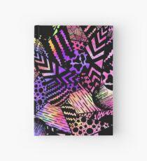 Geometric Retro Neon Watercolor Black Drawn Shapes Hardcover Journal