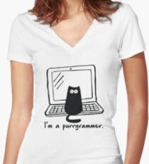 I'm a purrgrammer Women's Fitted V-Neck T-Shirt