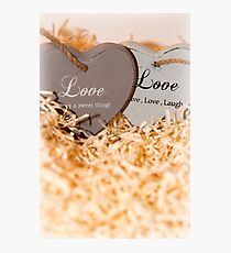 couple of wooden love hearts Photographic Print