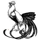 Longtail Rooster, cut-out by Janis Neville