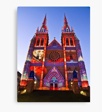 St Marys Cathedral (Governor Macquarie) - Vivid Festival - Sydney - Australia Canvas Print